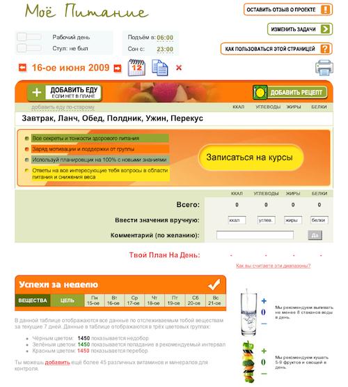 Скриншот программы по расчету калорийности